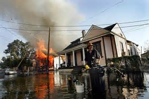 Surviving Any Disaster - flooded house on fire.