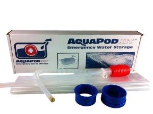 Water storage = AquaPod = 65 gallons