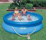Above ground swimming pool for water storage. Intex