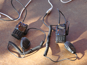 Mini Communications center with two baofeng UV-5r handheld radios