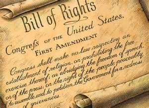 Bill Of Rights to the Constitution - first amendment - 1st - freedom of speech