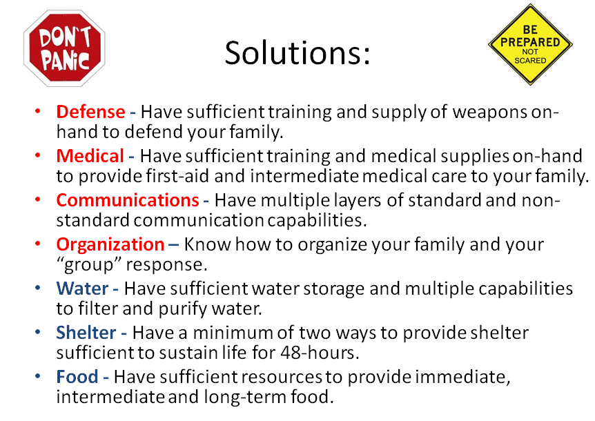 Solution solutions for emergencies emergency disaster grid-down