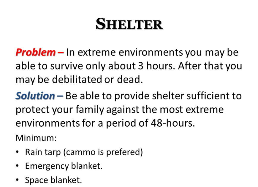 disaster emergency grid-down basics - shelter