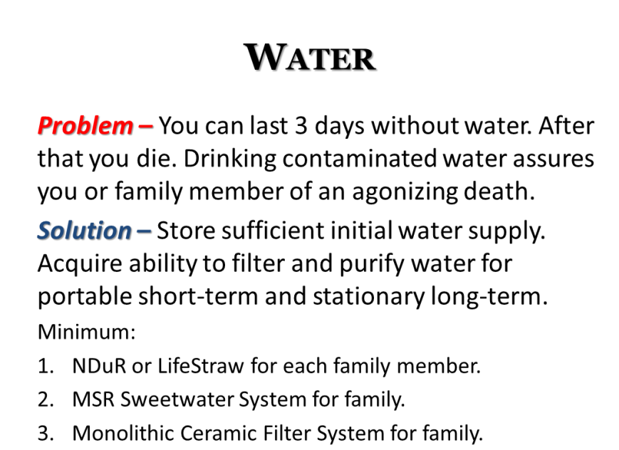 disaster emergency grid-down basics - water