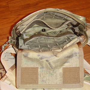 View: looking down through the top, into the pouch.