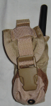 Military surplus flashbang grenade pouch used to carry a Motorola Family Radio