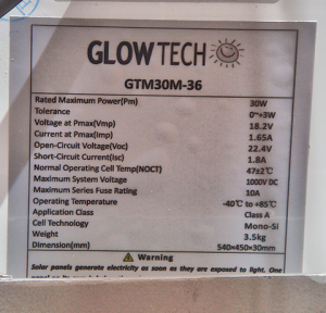 GlowTech - glow tech solar panels 30w