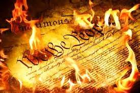 Constitution Burning and is being destroyed