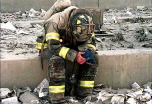 9/11 firefighter crying