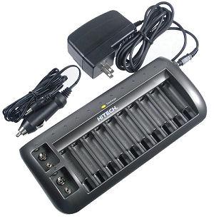 Alzo Digital : HiTech 12 bay Battery Charger AA, AAA & 9volt