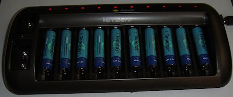 Started out with discharged Tenergy 1000mAh nickel-metal hydride AAA batteries.