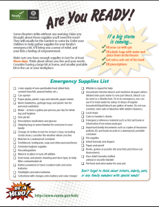 72-hour emergency kit list