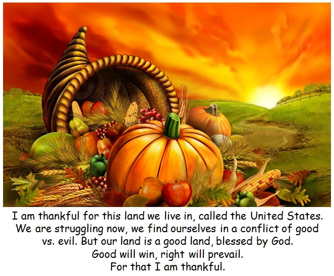 Thanksgiving Message - I am thankful for the united states