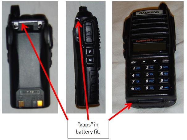 Boafeng UV-82 poor battery fit