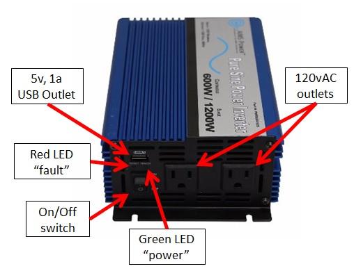 AIMS Power (PWRI60012S) 600W Pure Sine Power Inverter