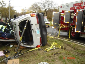 Incident Stabilization! Notice how they stabilized the vehicle from rolling over while they worked he accident.