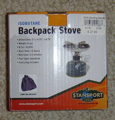 Stansport isobutane backpack stove