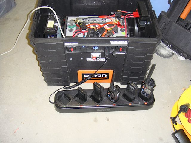 Charging batteries and radios from a 12vDC power source using the Retevis Universal Charger.